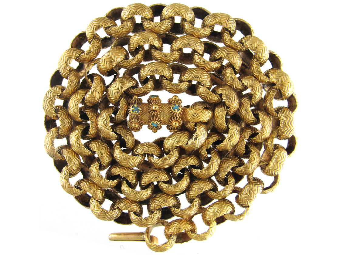 Georgian 18ct Gold Chain with Barrel Clasp