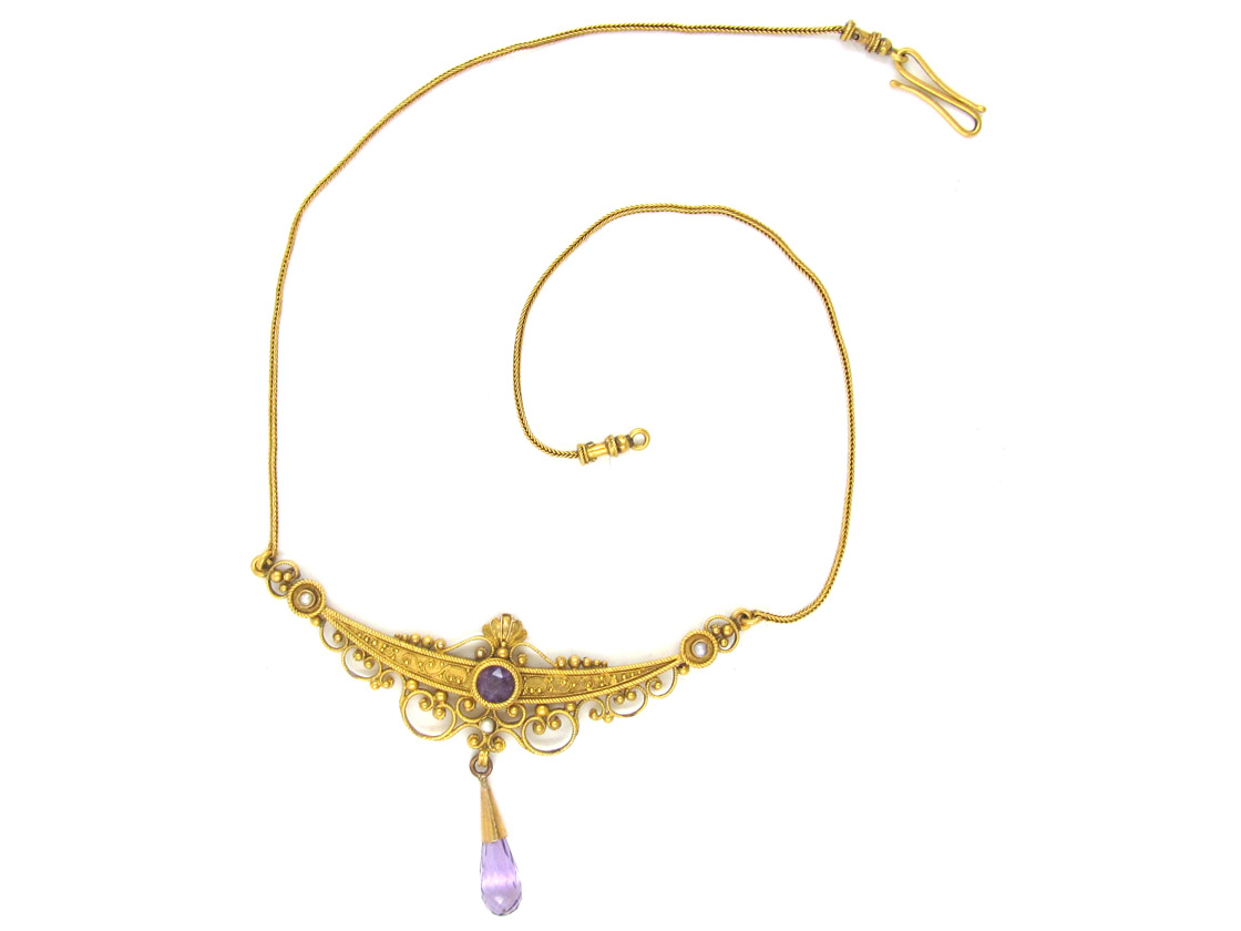 Victorian Etruscan Style Amethyst 18ct Gold Necklace