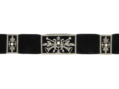 Diamond, Platinum & Natural Pearl Edwardian Choker with Musical Instruments