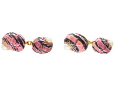 Enamel Shell 18ct Gold Cufflinks by Trianon