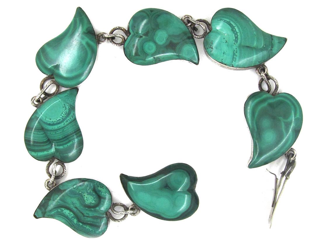 Victorian Scottish Silver & Malachite Ivy Leaves Bracelet