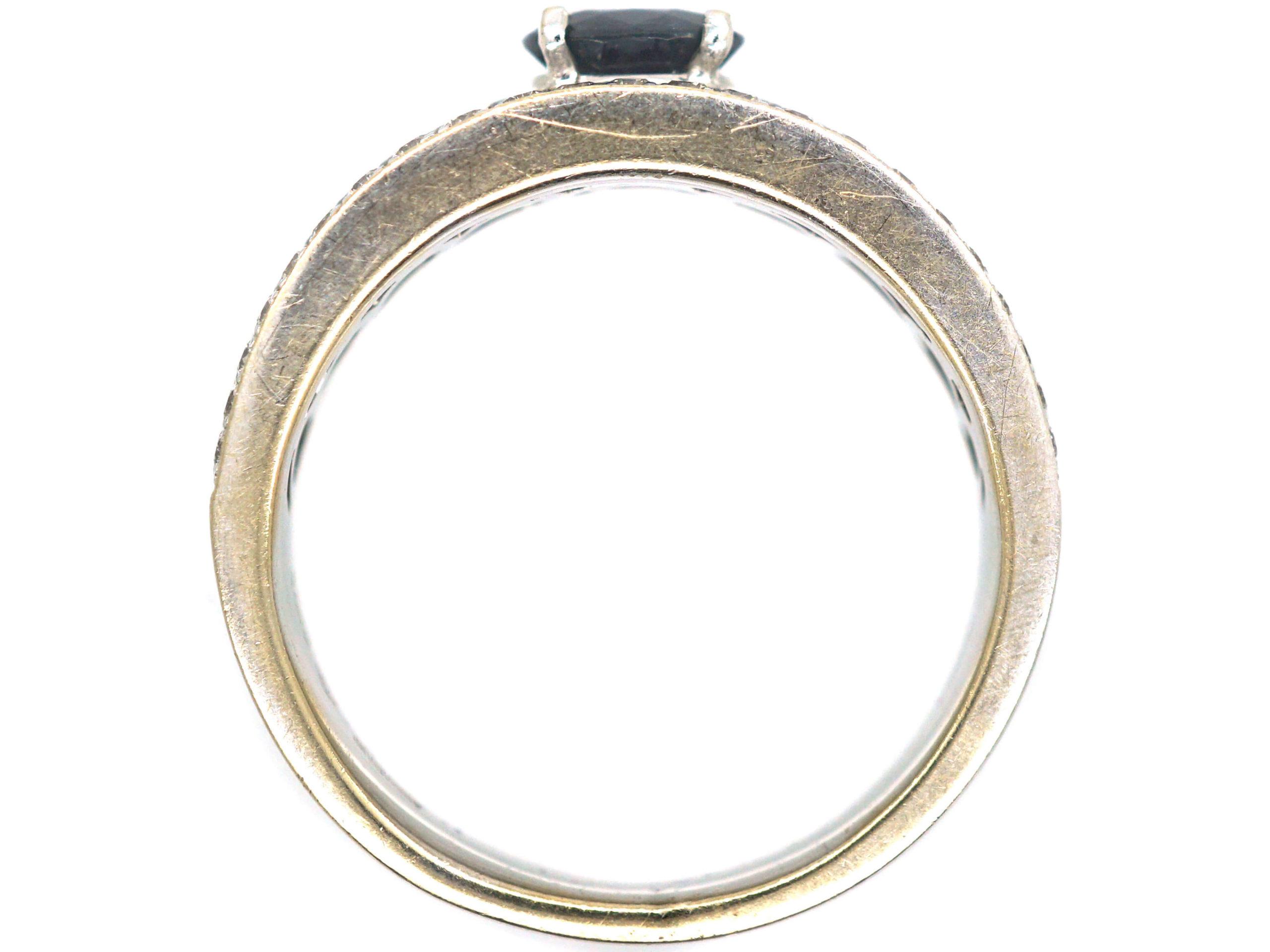 Diamond Studded & Sapphire Band Ring