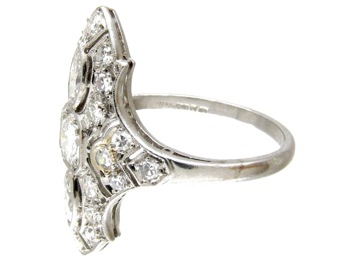 Art Deco Diamond Marquise Shaped Ring