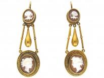 Neoclassical 15ct Gold Drop Cameo Earrings