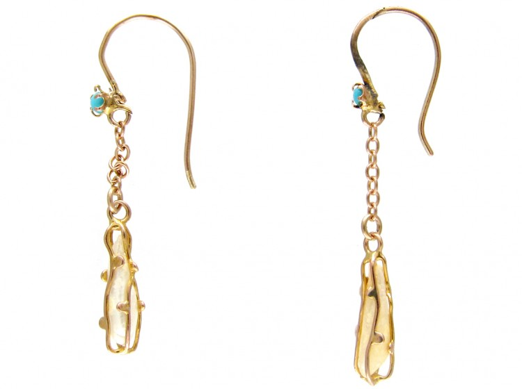 Art Nouveau 9ct Gold Caged Pearl & Turquoise Earrings