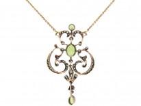 Edwardian Peridot & Diamond Pendant on Gold Chain