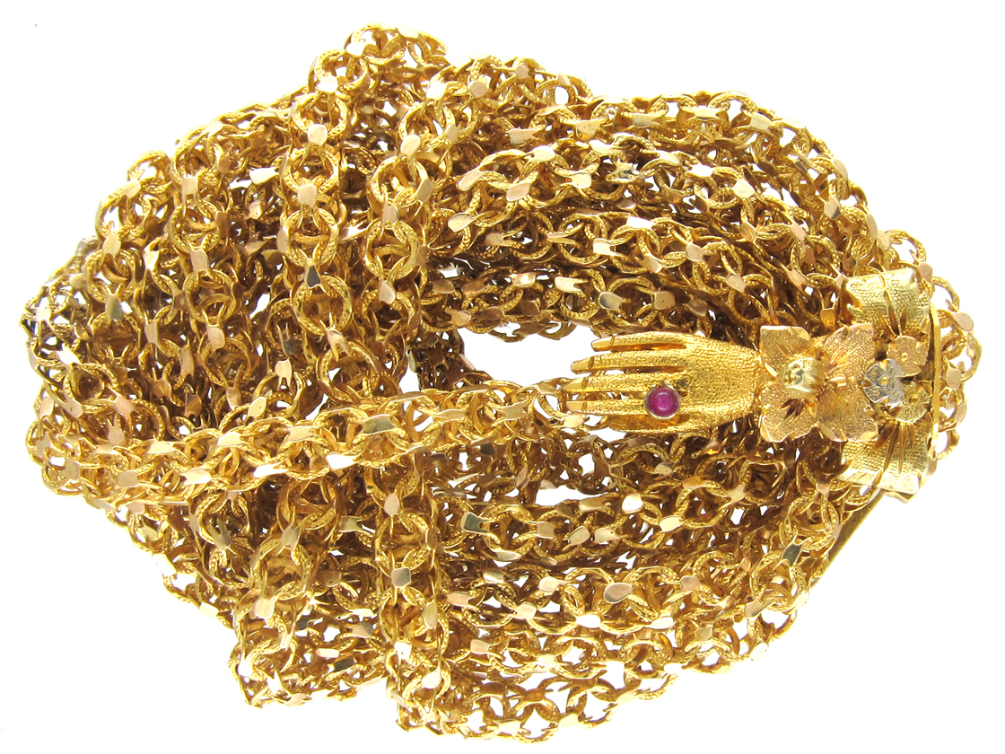 Georgian 18ct Gold Long Chain with Three colour Gold Hand Clasp