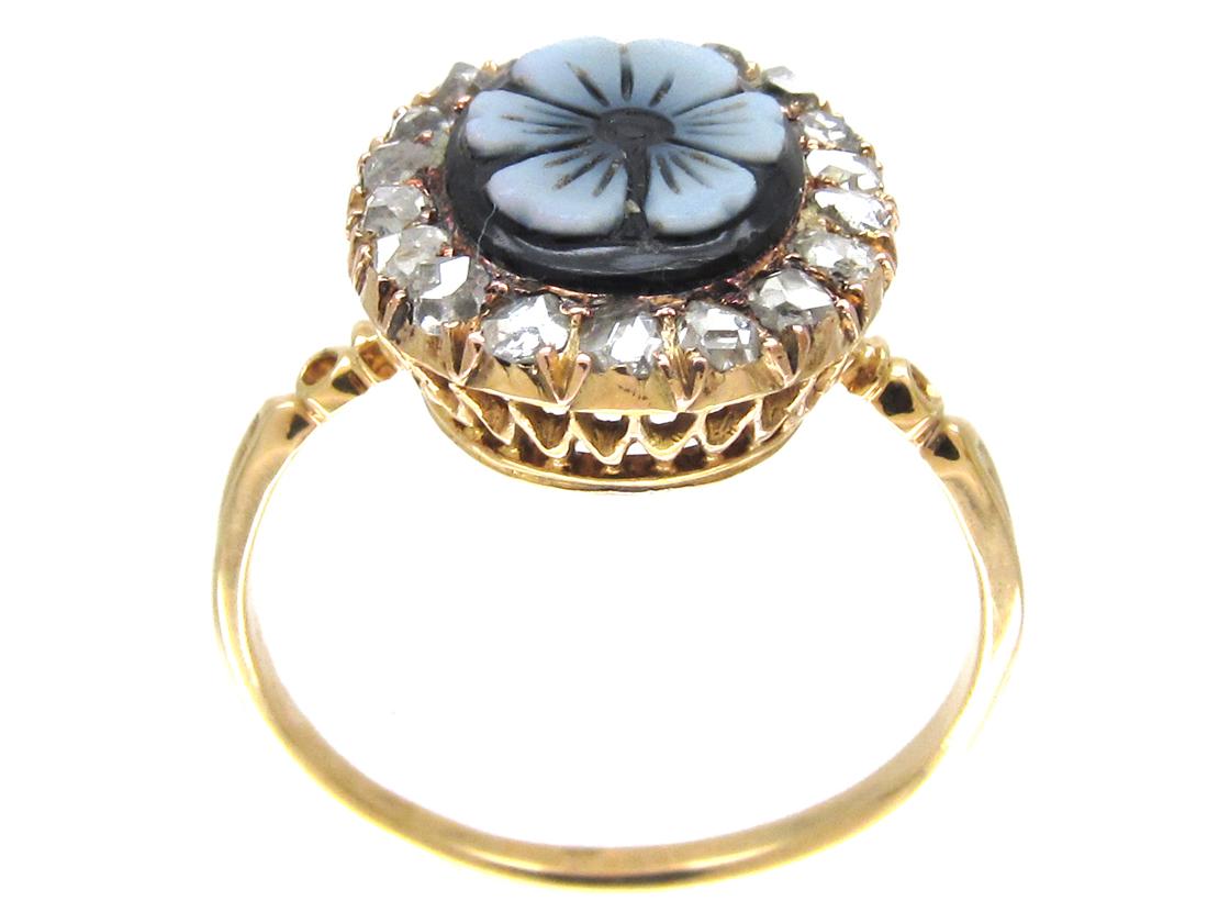 Victorian Sardonyx Pansy Ring with Diamond surround