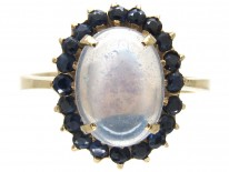 Moonstone & Sapphire Oval Ring