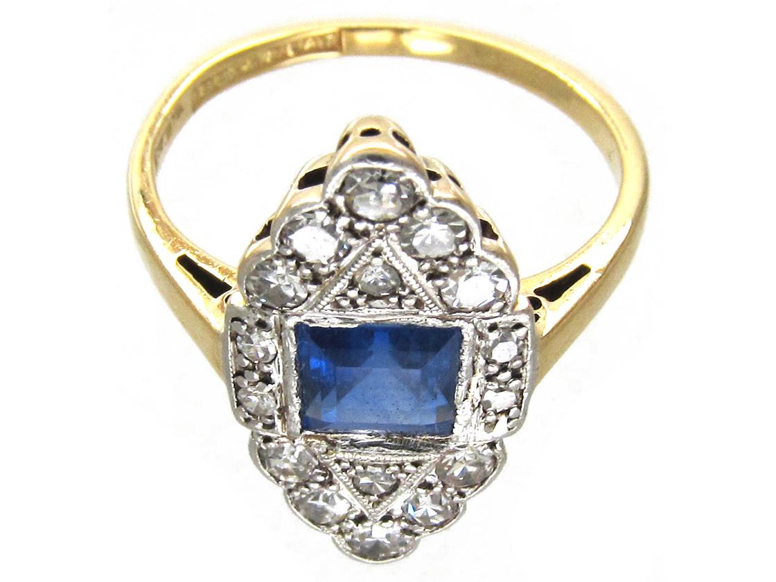 Art Deco Sapphire & Diamond Marquise Ring