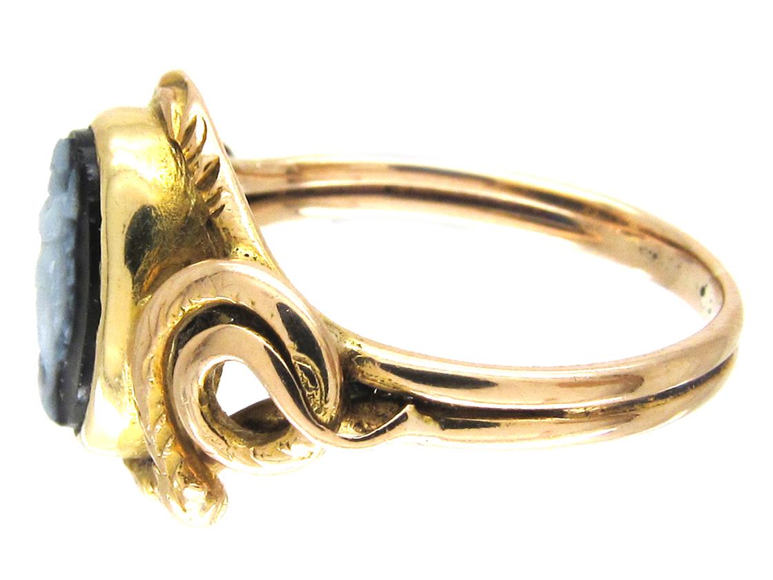 Early Victorian Sardonyx Dancing Nymph & Snakes Ring