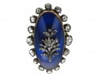 Georgian Rose Diamond & Blue Enamel Oval Ring