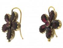 Georgian Flat Cut Almandine Garnet Pansy Earrings