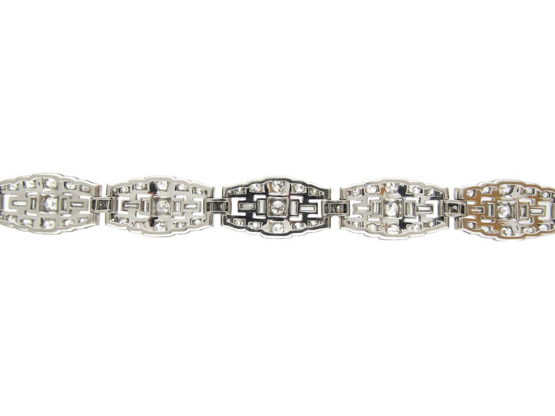 Art Deco Diamond & Platinum Bracelet by Mcteigue & Co