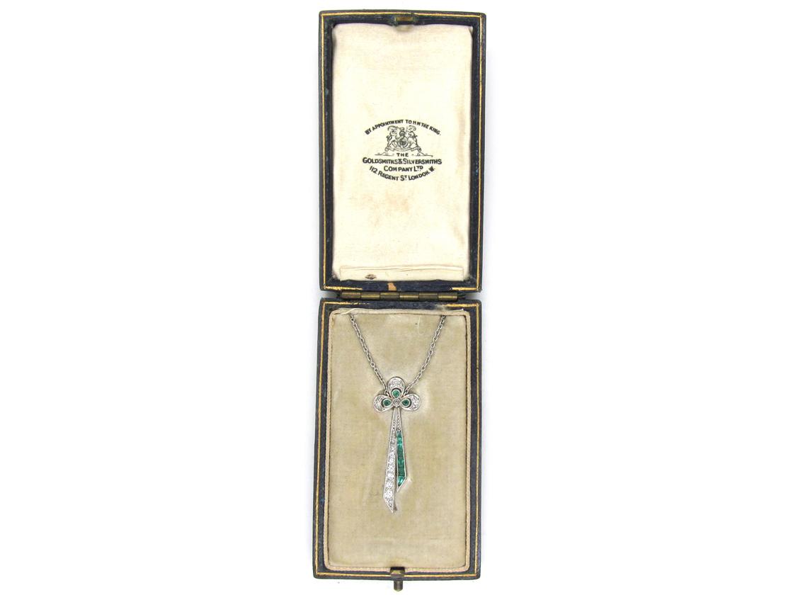 Art Deco Emerald & Diamond Bow Pendant in Original Case