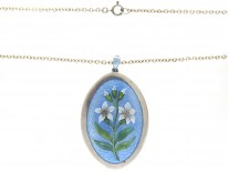 Edwardian Enamel & Silver Flower Lilies Pendant on Chain in Original Case