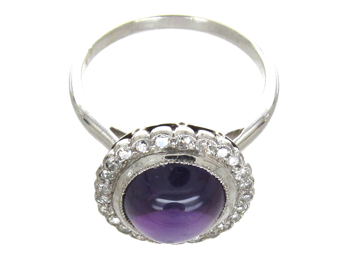 A Cased Set of 18ct White Gold & Amethyst & Diamond Earrings, Ring & Brooch