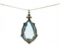 Silver & Blue Paste Art Deco Pendant on Chain