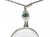 Silver Double Snake Quizzing Glass Pendant on Silver Chain