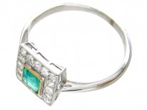 Art Deco Emerald & Diamond Square Ring