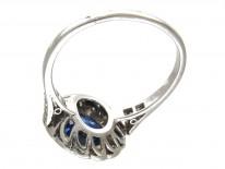 Art Deco Sapphire & Diamond Catherine Wheel Design Ring