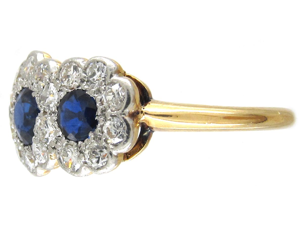 Edwardian Sapphire & Diamond Triple Cluster Ring