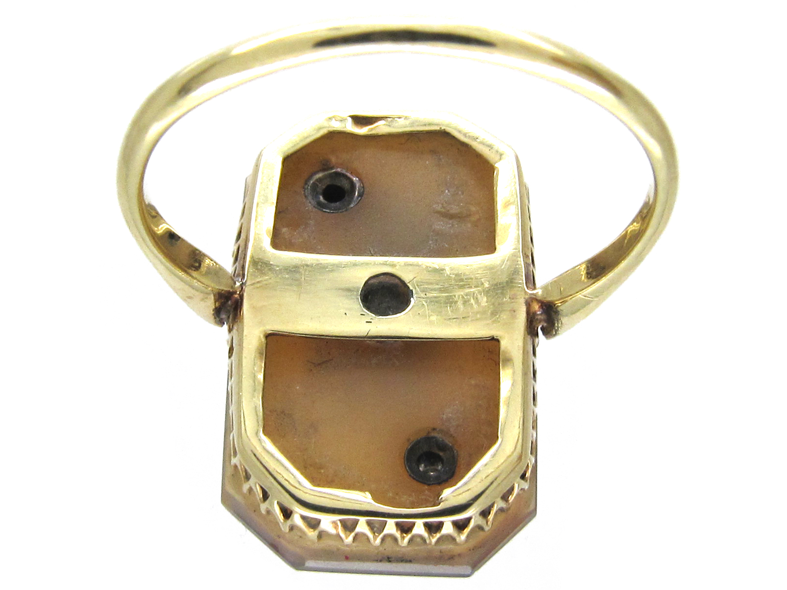 Art Deco 18ct Gold Comet & Stars Carved Carnelian & Pearl Ring