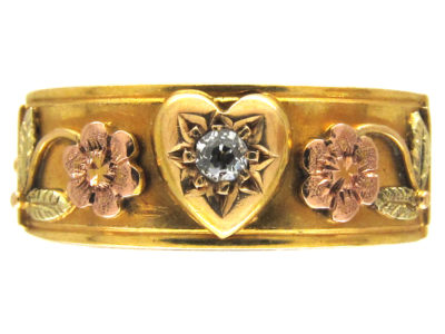 Victorian 18ct Three Colour Gold & Diamond Opening Ring with For Ever Inside