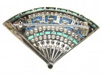 Art Deco Silver & Paste Fan Brooch in Original Case