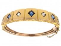 Victorian 9ct Gold Sapphire & Diamond Set Bangle