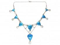 Art Nouveau Silver, Blue Enamel & Blister Pearl Necklace