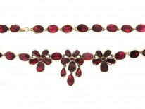 Flat Cut Garnet & Gold Edwardian Necklace