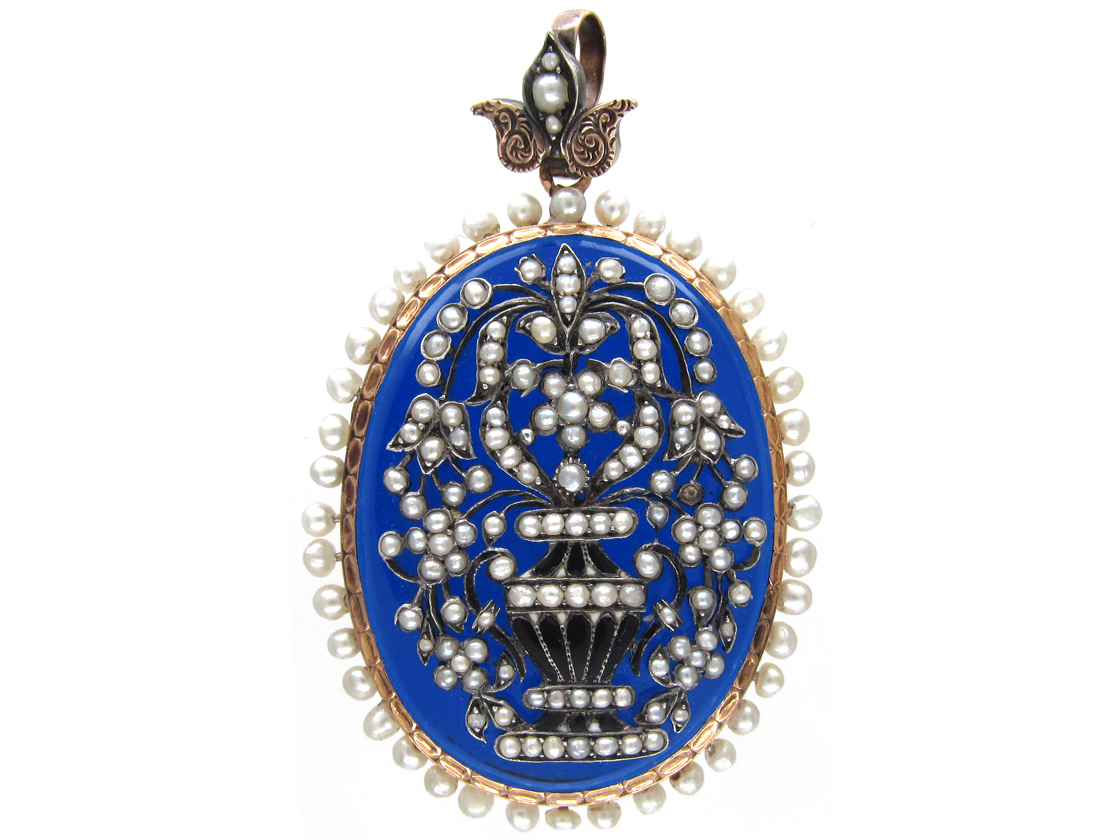 Early 19th Century French Natural Pearl & Blue Glass Locket & Pendant With Memorial Urn & Flowers