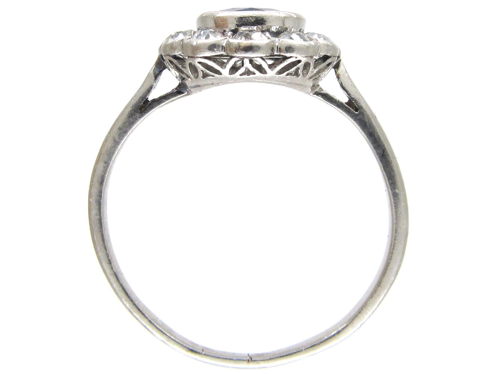 Edwardian Sapphire & Diamond Oval Cluster Ring