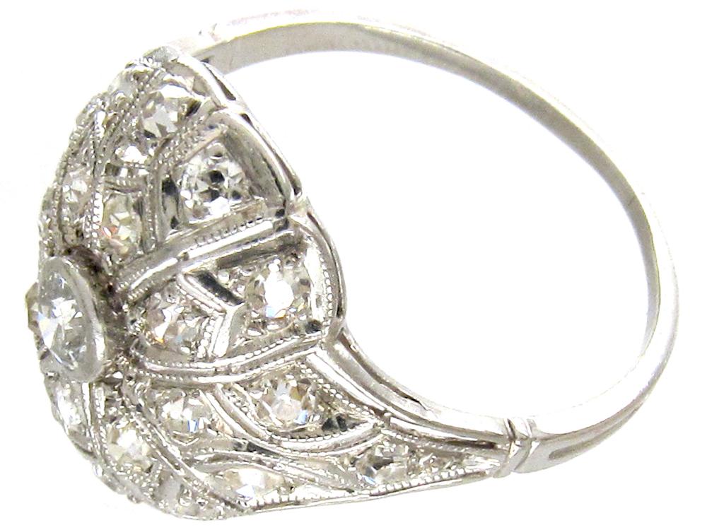 Art Deco Diamond & Pierced Work Ring