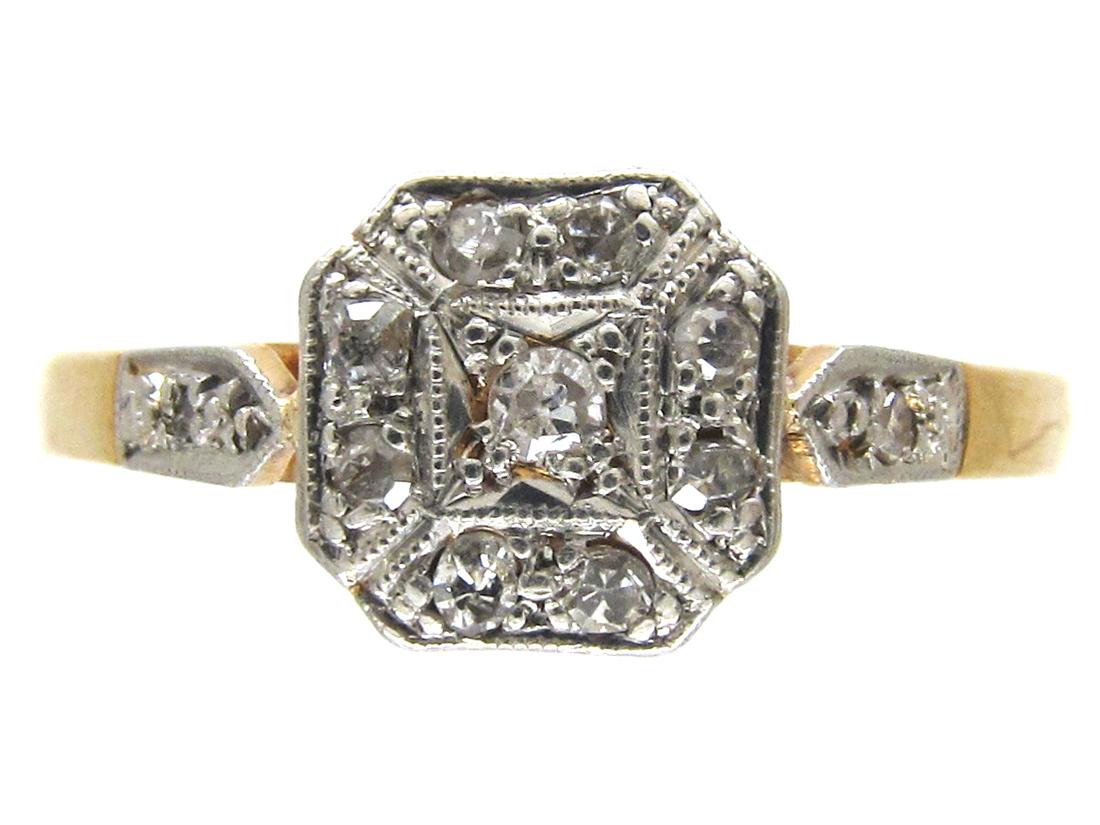 Art Deco 18ct & Platinum & Diamond Ring
