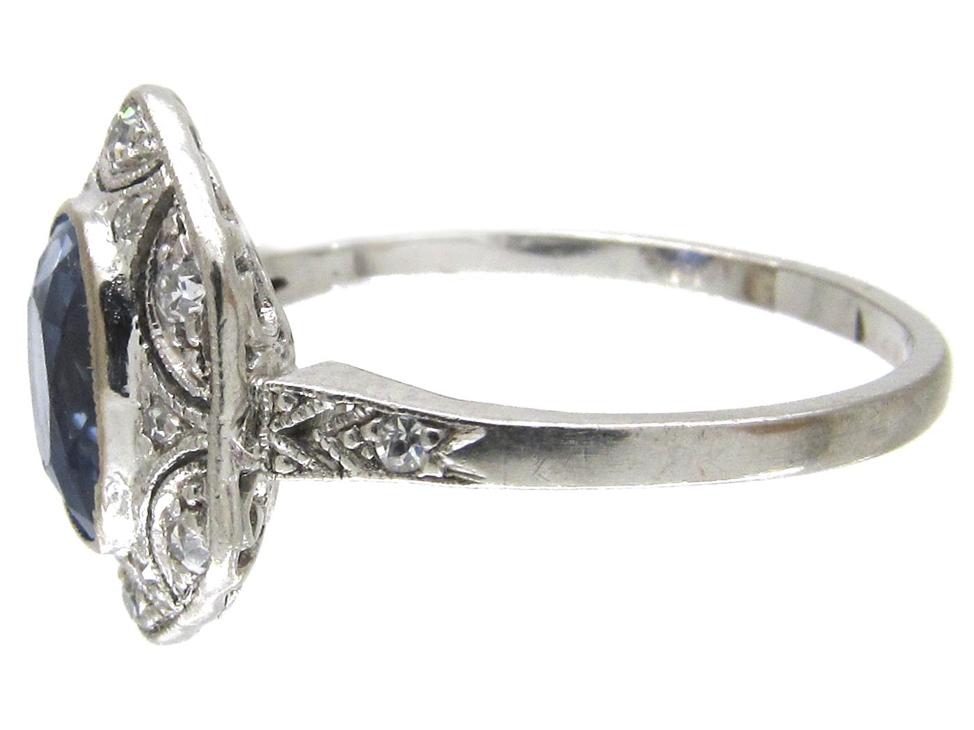 Art Deco Ceylon Sapphire & Hexagonal Diamond Ring
