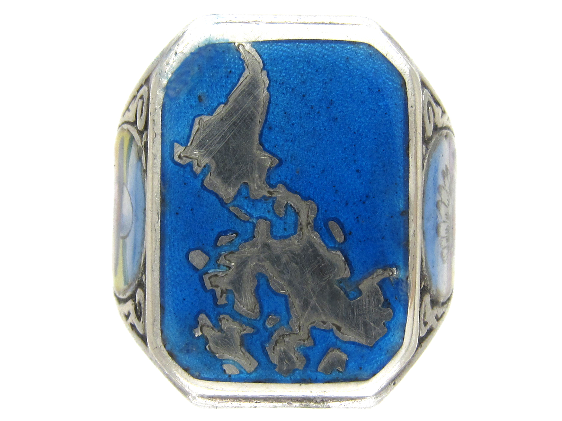 South & North American Indian Silver & Enamel Ring