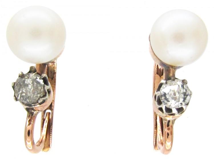 Edwardian Pearl & Diamond Earrings