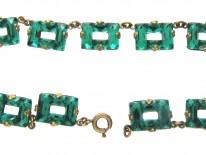 Art Deco Czechoslovakian Green Glass Necklace