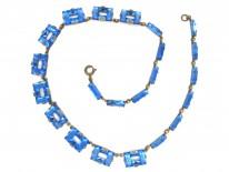 Art Deco Czechoslovakian Blue Glass Necklace