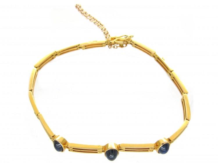 Cabochon Sapphire 14ct Gold Art Deco Bracelet