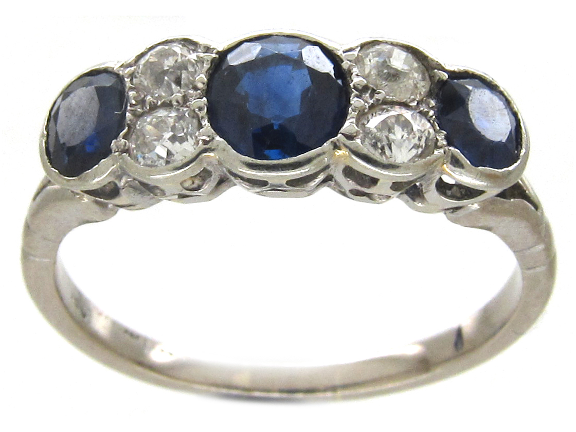 Three Stone Sapphire & Diamond 18ct White Gold Art Deco Ring