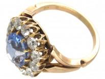 Large Edwardian Sapphire & Diamond Cluster Ring