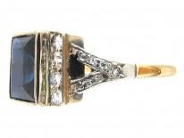 Art Deco Rectangular Sapphire & Diamond Ring with Diamond Shoulders
