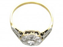 Edwardian Diamond Cluster Ring with Diamond Shoulders