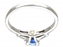 Sapphire Solitaire Ring with Diamond Baguette Shoulders