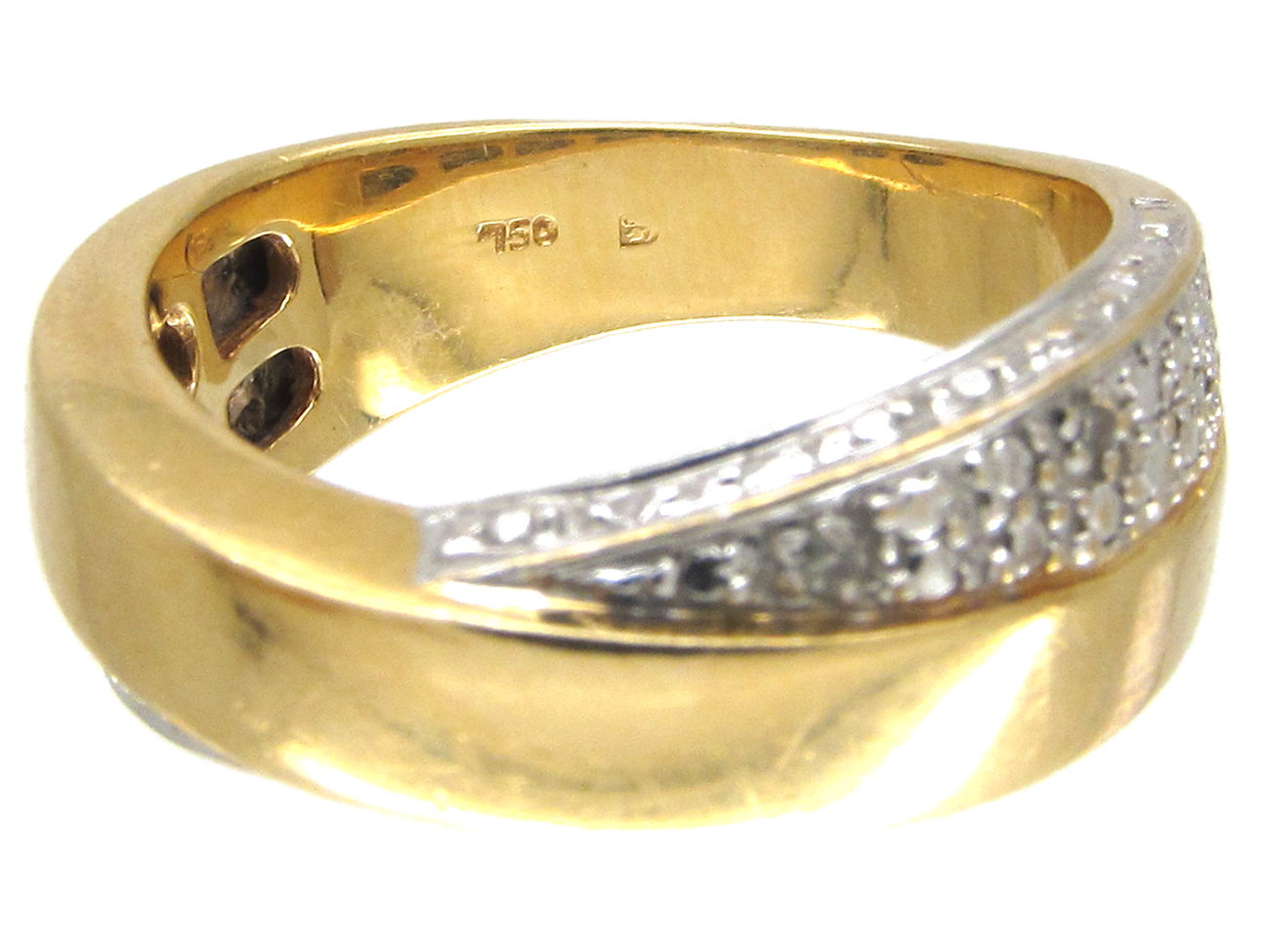 18ct Gold & Diamond Twisted Band Ring by Balmain