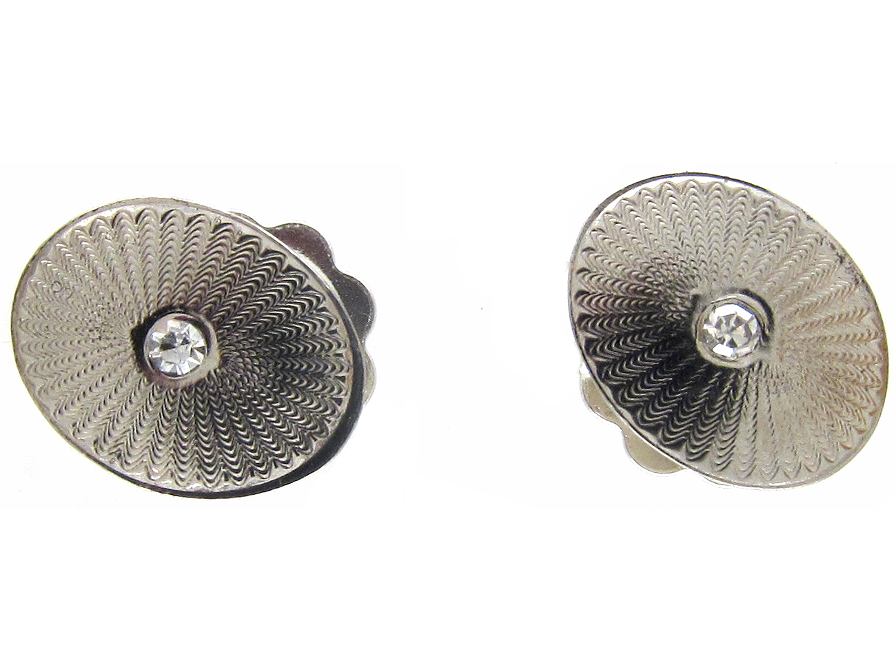 Oval Platinum & Diamond Earrings