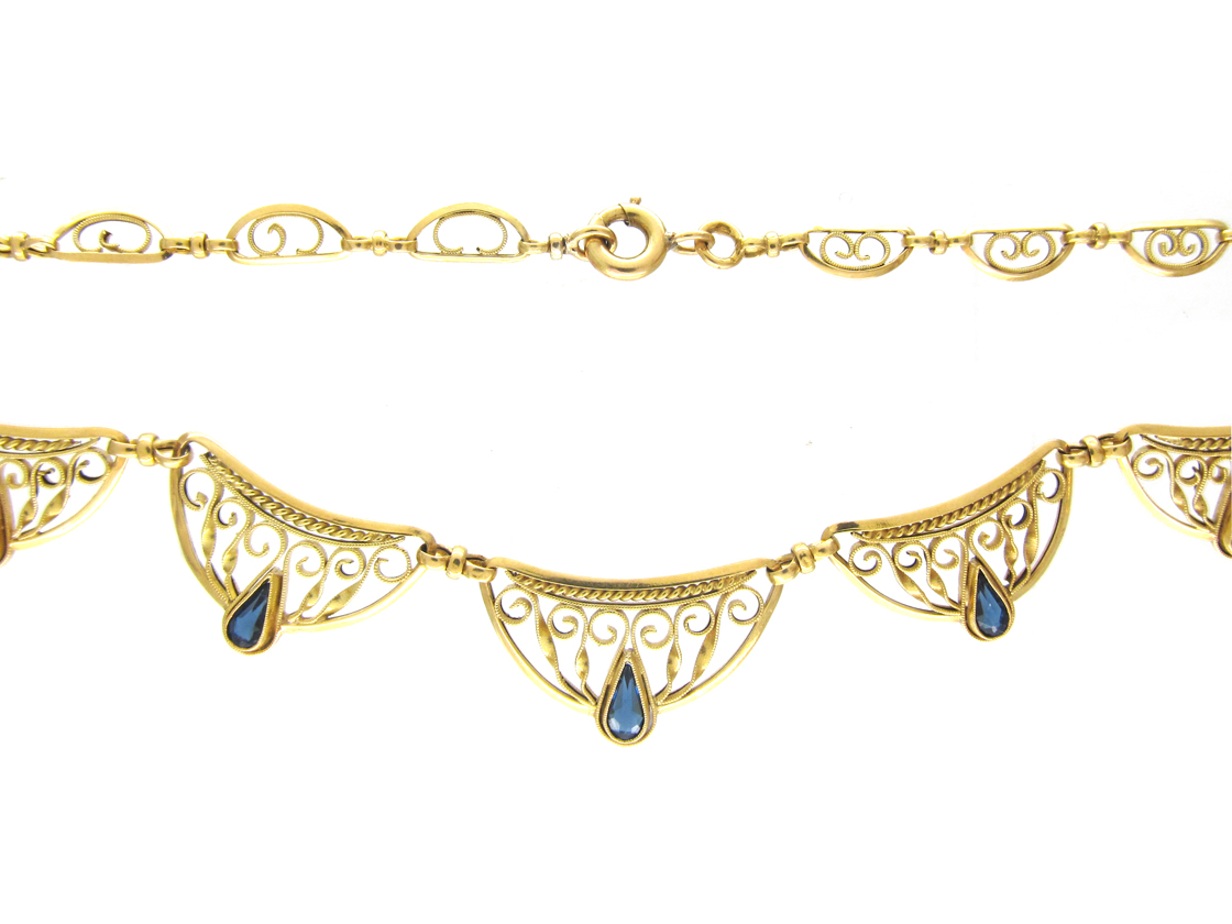 French 18ct Gold & Sapphire Necklace